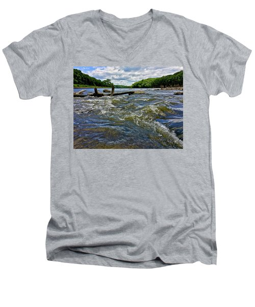 Men's V-Neck T-Shirt featuring the photograph Cedar River Iowa by Dan Miller