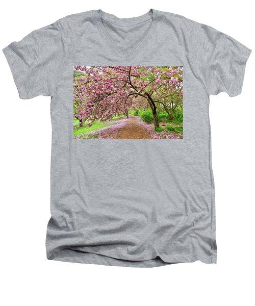 Central Park Cherry Blossoms Men's V-Neck T-Shirt