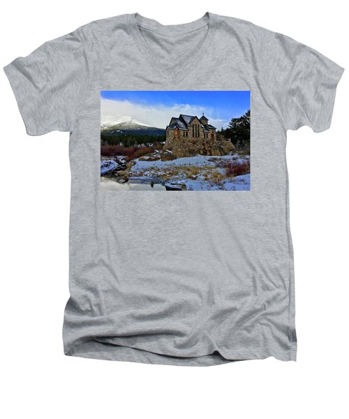 Men's V-Neck T-Shirt featuring the photograph Chapel On The Rock by Dan Miller