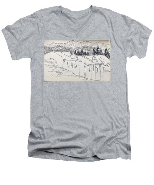 Charcoal Pencil Houses1.jpg Men's V-Neck T-Shirt