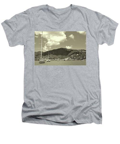 Charlotte Amalie Harbor In Sepia Men's V-Neck T-Shirt