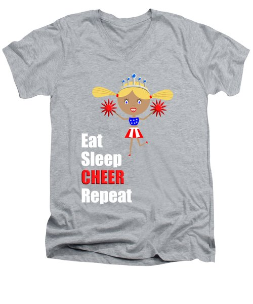 Cheerleader And Pom Poms With Text Eat Sleep Cheer Men's V-Neck T-Shirt