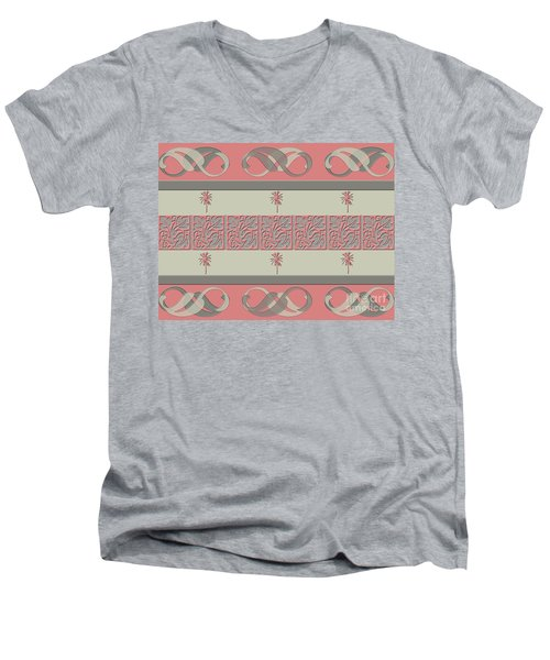 Cheery Coral Pink Men's V-Neck T-Shirt
