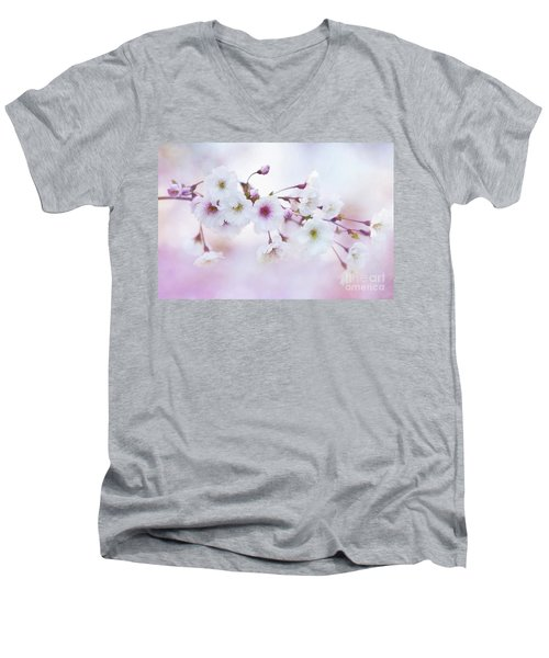 Cherry Blossoms In Pastel Pink Men's V-Neck T-Shirt