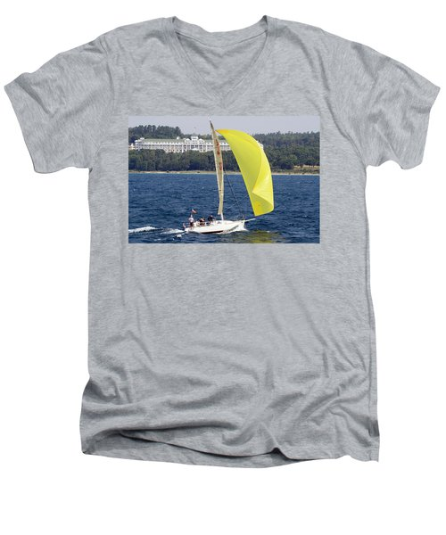 Chicago To Mackinac Yacht Race Sailboat With Grand Hotel Men's V-Neck T-Shirt