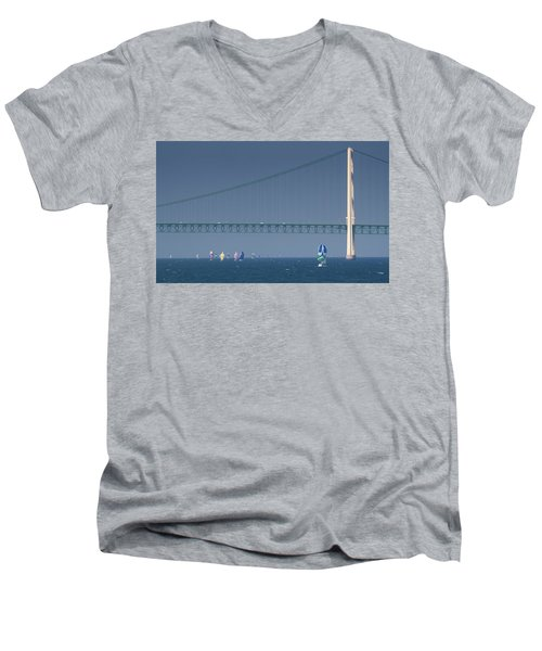 Chicago To Mackinac Yacht Race Sailboats With Mackinac Bridge Men's V-Neck T-Shirt