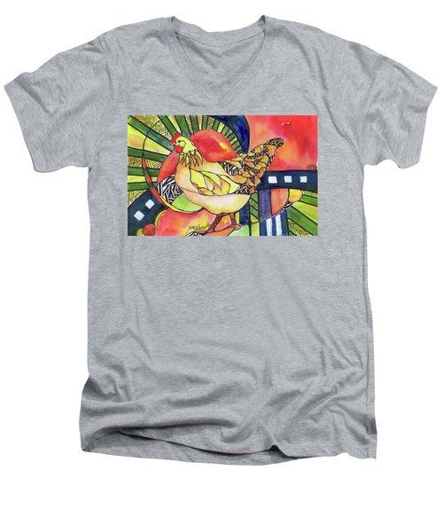 Chicken Red Men's V-Neck T-Shirt