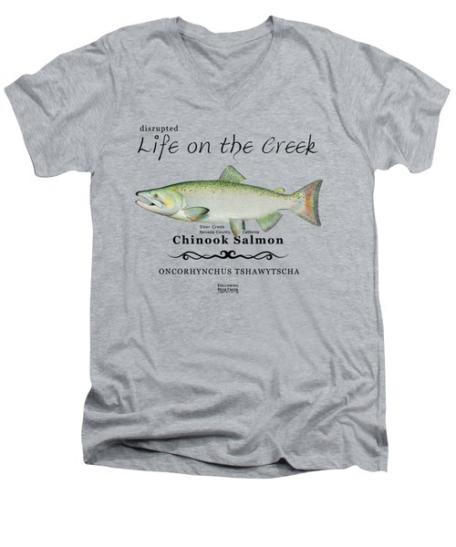 Chinook Salmon Disrupted Men's V-Neck T-Shirt