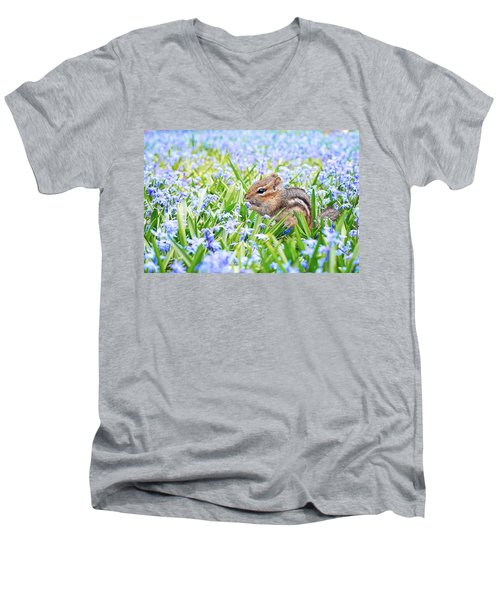 Chipmunk On Flowers Men's V-Neck T-Shirt