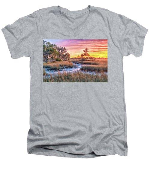 Chisolm Island Marsh Sunset Men's V-Neck T-Shirt