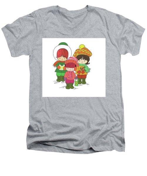 Christmas Angels Men's V-Neck T-Shirt