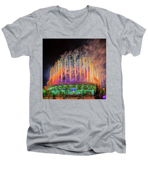 Cleveland Baseball Fireworks Awesome Men's V-Neck T-Shirt
