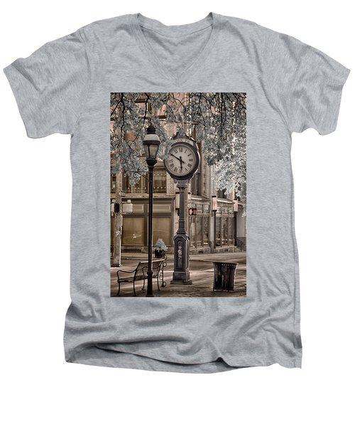 Clock On Street Men's V-Neck T-Shirt