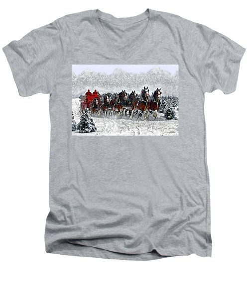 Clydesdales Hitch In Snow Men's V-Neck T-Shirt
