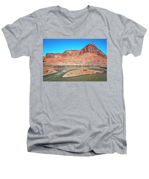Men's V-Neck T-Shirt featuring the photograph Colorado River At Salt Wash by Andy Crawford