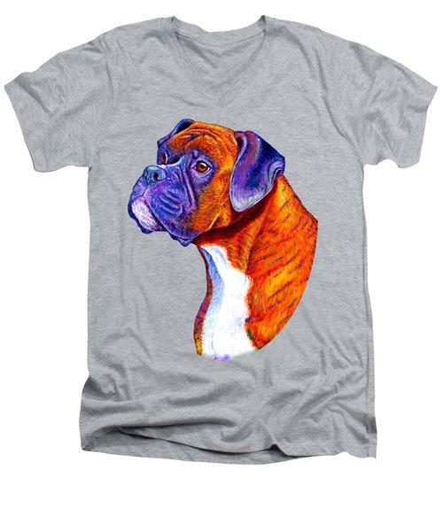 Colorful Brindle Boxer Dog Men's V-Neck T-Shirt