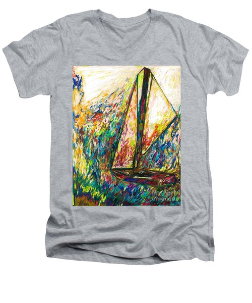 Colorful Day On The Water Men's V-Neck T-Shirt