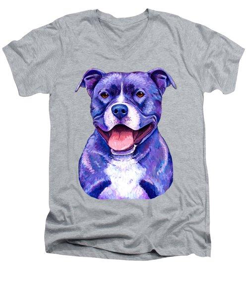 Colorful Pitbull Terrier Dog Men's V-Neck T-Shirt