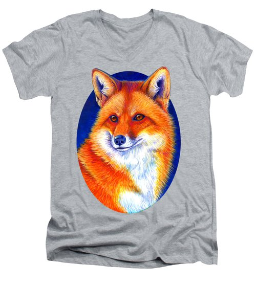 Colorful Red Fox Men's V-Neck T-Shirt