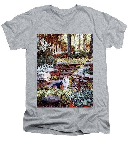 Corgi At Highgarden Men's V-Neck T-Shirt