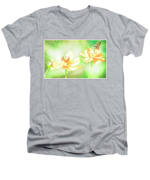Cosmos Flowers, Bud, Butterfly, Digital Painting Men's V-Neck T-Shirt