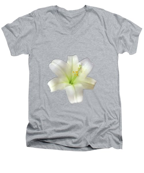 Men's V-Neck T-Shirt featuring the photograph Cotton Seed Lilies by Rockin Docks