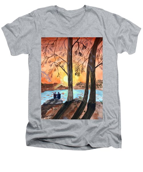 Couple Under Tree Men's V-Neck T-Shirt