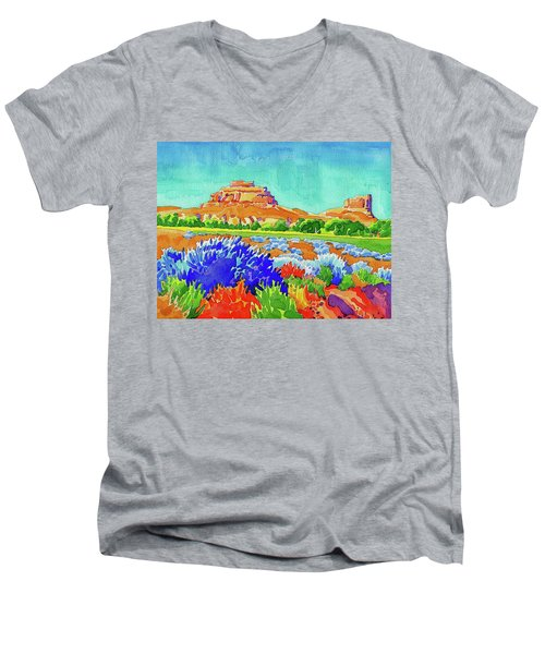 Men's V-Neck T-Shirt featuring the painting Courthouse And Jail Watercolor by Dan Miller