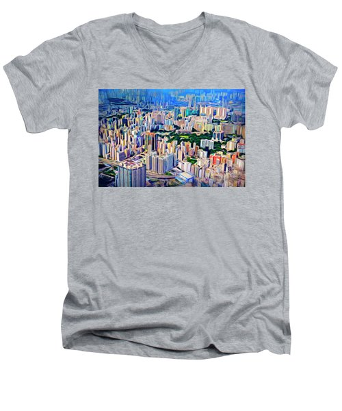 Crowded Hong Kong Abstract Men's V-Neck T-Shirt