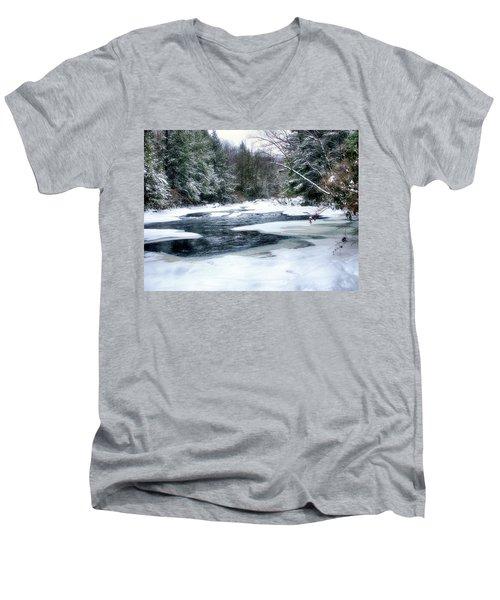 Cucumber Run In Winter Men's V-Neck T-Shirt