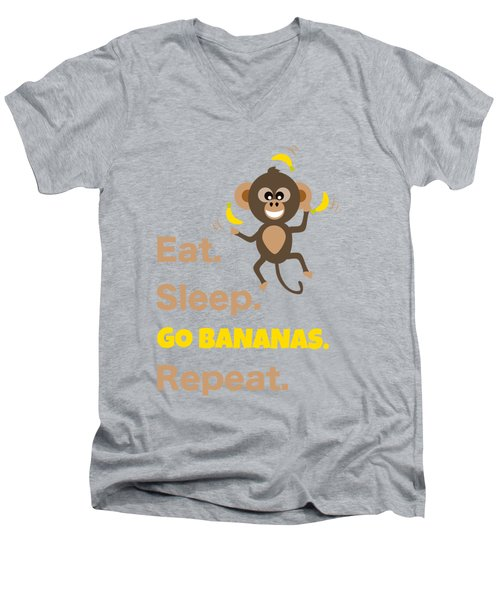 Cute Animal Money Juggling With Text Eat Sleep Go Bananas Popular Quote Men's V-Neck T-Shirt
