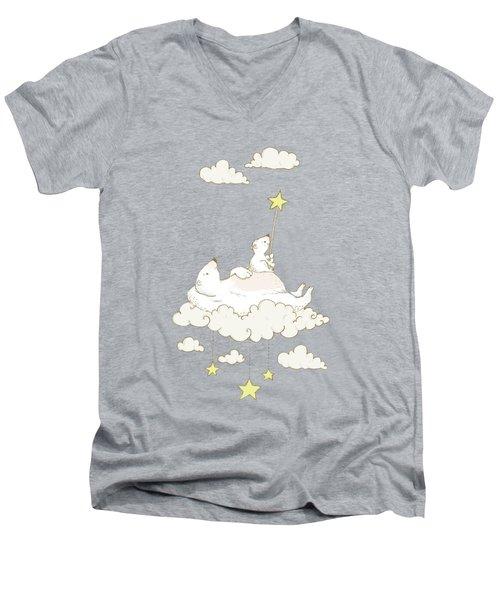 Cute Polar Bears On Cloud Whimsical Art For Kids Men's V-Neck T-Shirt