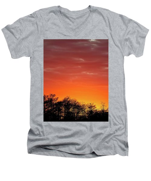Cypress Swamp Sunset 4 Men's V-Neck T-Shirt