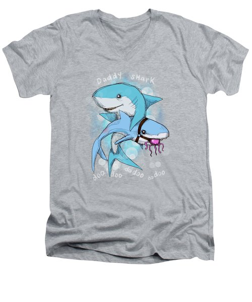 Daddy Shark Men's V-Neck T-Shirt