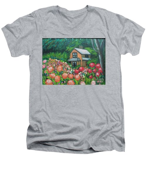 Dahlias In The Woods Men's V-Neck T-Shirt