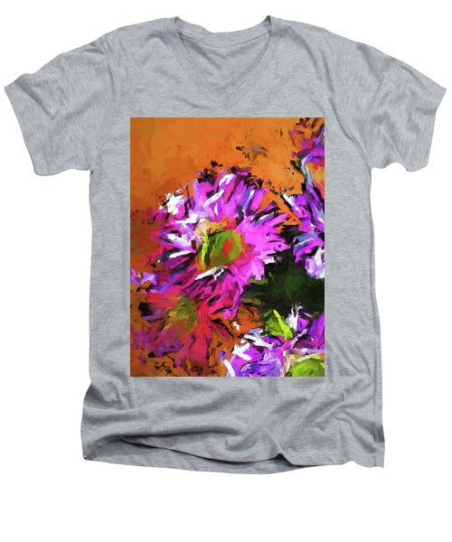 Daisy Rhapsody In Lavender And Pink Men's V-Neck T-Shirt