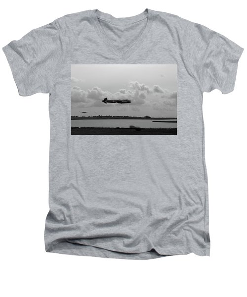 Men's V-Neck T-Shirt featuring the photograph Dambusters Lancasters At Abberton Bw Version by Gary Eason