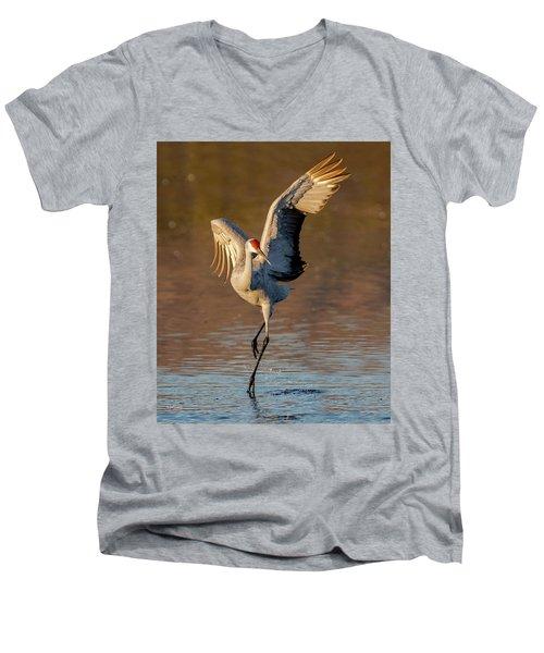 Dance Of The Sandhill Crane Men's V-Neck T-Shirt