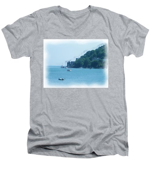 Dartmouth Castle Painting Men's V-Neck T-Shirt