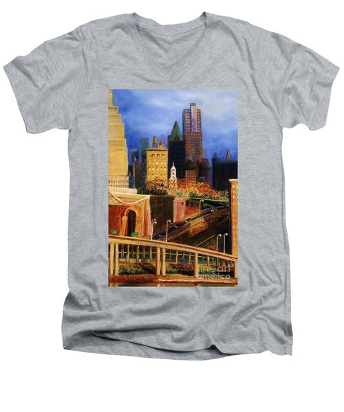 Dawn At City Hall Men's V-Neck T-Shirt