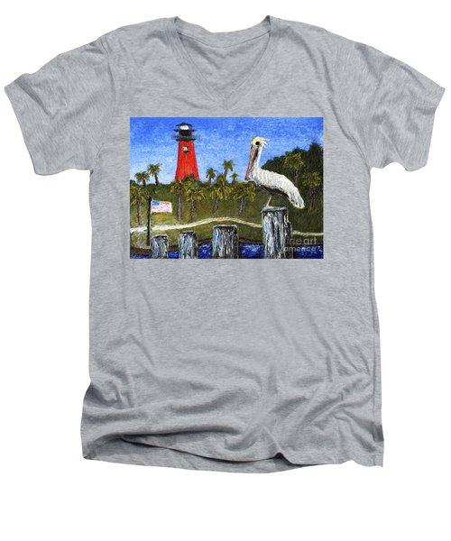Aceo Dawn At Jupiter Inlet Lighthouse Florida 52a Men's V-Neck T-Shirt