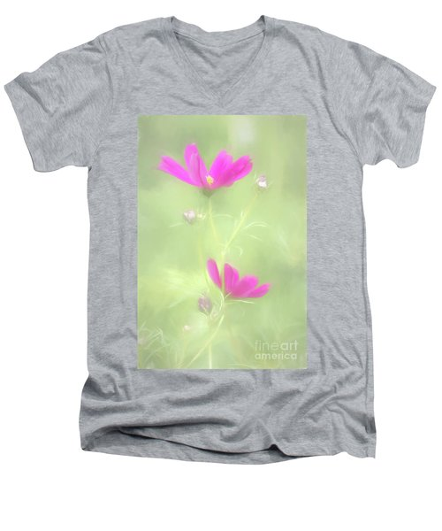 Delicate Painted Cosmos Men's V-Neck T-Shirt