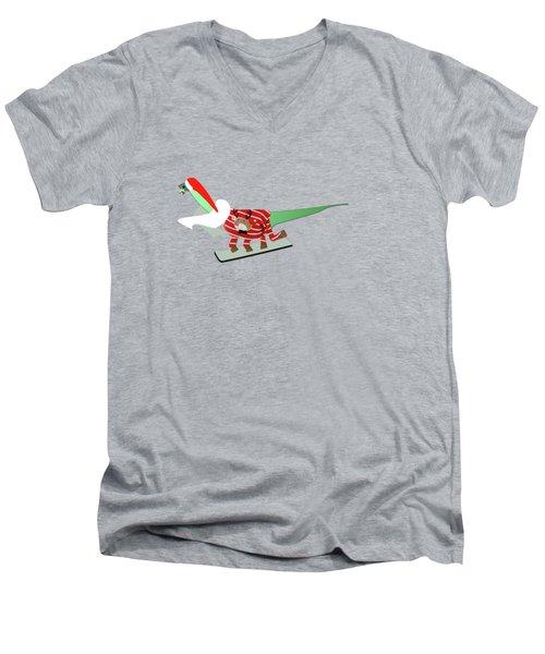 Dinosaur Snowboarding In Ugly Christmas Jumper Men's V-Neck T-Shirt
