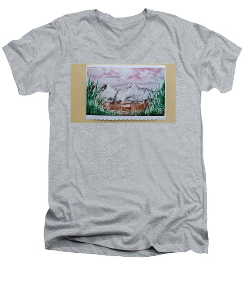 Distant Impressionistic Mountains Men's V-Neck T-Shirt