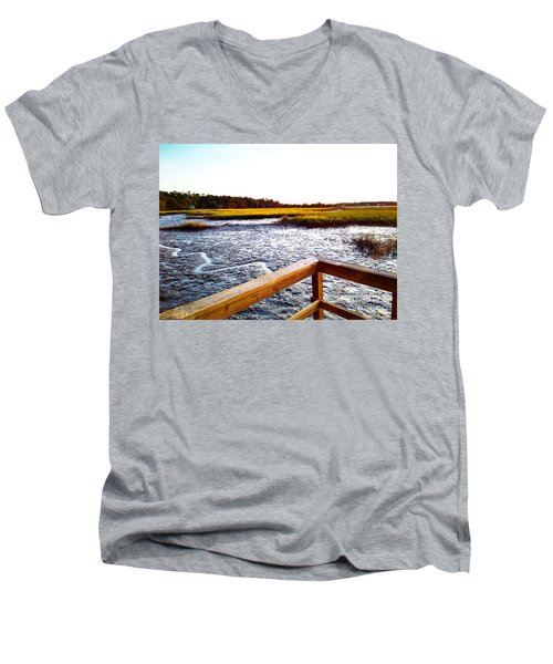 Men's V-Neck T-Shirt featuring the photograph Dock Point by Robert Knight