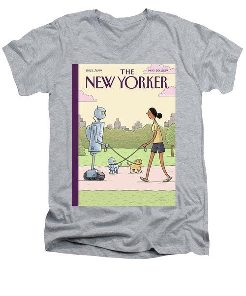 Dog Walking 2.0 Men's V-Neck T-Shirt