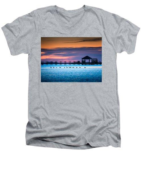 Duck Sunset - Outer Banks North Carolina Men's V-Neck T-Shirt