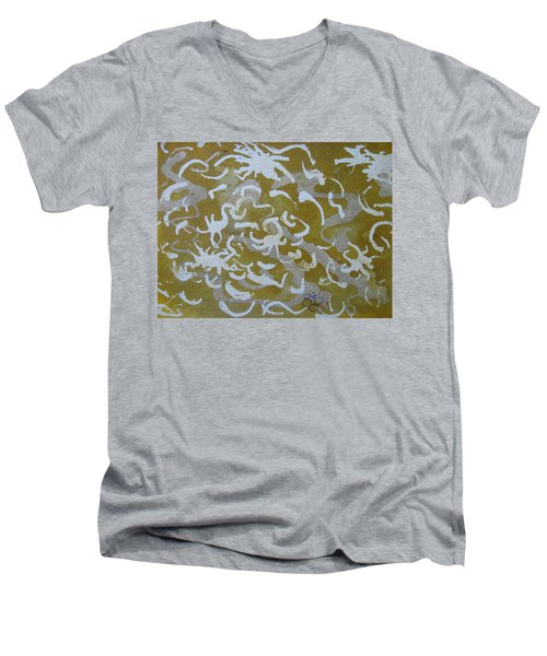 Dull Yellow With Masking Fluid Men's V-Neck T-Shirt