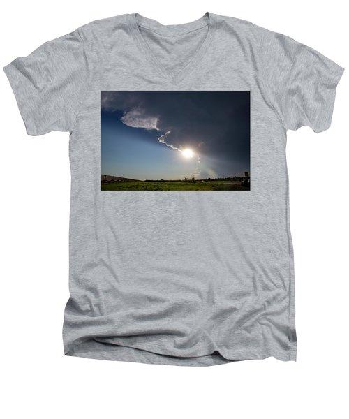 Dying Nebraska Thunderstorms At Sunset 002 Men's V-Neck T-Shirt