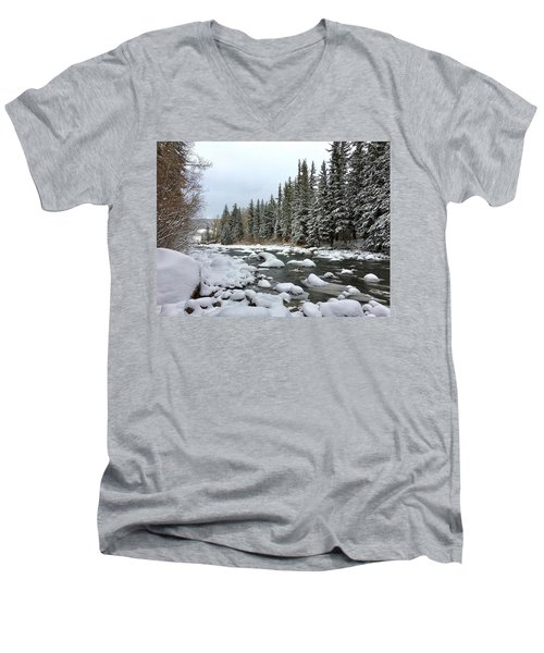 Men's V-Neck T-Shirt featuring the photograph Eagle River Wilderness by Dan Miller